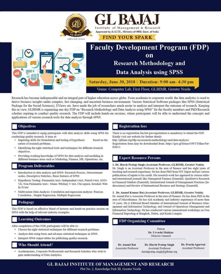 FDP on Research Methodology & Data Analysis using SPSS « GL